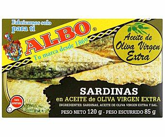 ALBO Tres Escudos sardinas en aceite de oliva virgen extra  lata 85 g neto escurrido