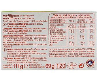Auchan Mejillones en escabeche tamaño pequeño (14/18 piezas) 69 gramos