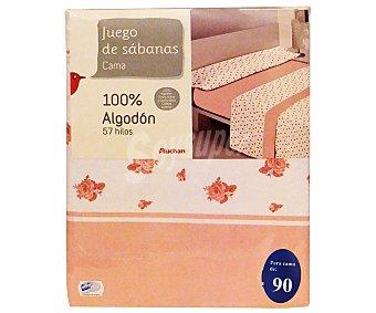 Auchan Juego de sábanas para cama de 90 centímetros, estampado con flores en tonos rosas, modelo Barbara 1 unidad