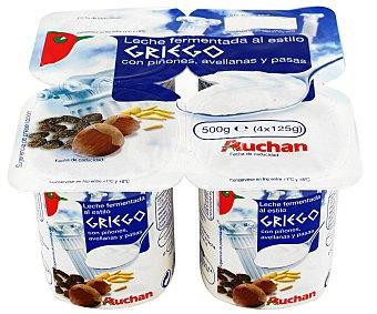 Auchan Yogur de leche fermentada con frutos secos (avellanas y piñones) y uvas pasas, al estilo grigo 125 gramos