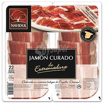 Navidul Jamón curado Extremadura en medias lonchas pack 2 x 85 g envase 170 g Pack 2 x 85 g