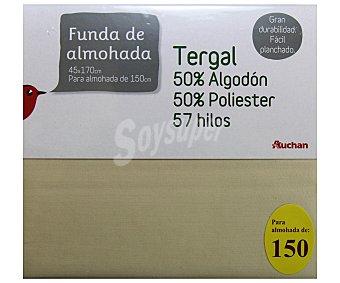 Auchan Funda de almohada color tierra, 150 centímetros 1 Unidad
