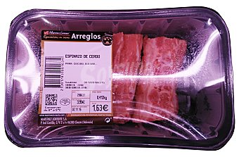 Martinez Loriente Cerdo hueso corbet espinazo fresco Bandeja de 2 unidades (380 g aprox.)