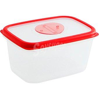 QUID Frigo-Box Hermético Rectangular transparente con filo rojo 1,7 l
