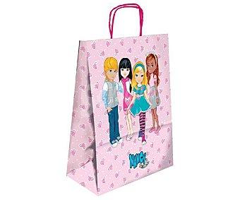 NANCY Bolsa para regalo con imagen de muñecas Nancy sobre fondo rosa y de tamaño M 1 unidad