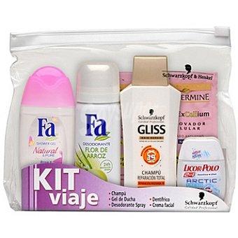 La Toja kit de viaje femenino con gel de baño Fa Natural & Pure + desodorante Fa Flor de Arroz + champú Gliss reparación total + dentífrico Licor del Polo 2 en 1 + crema facial