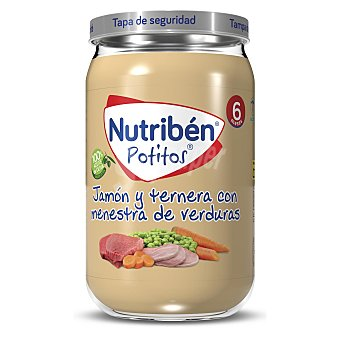 Nutribén Tarrito de jamón y ternera con menestra de verduras desde los 6 meses Potitos 235 g