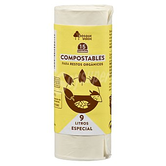 Bosque Verde Bolsa basura cubo pequeño 9 litros organica compostable 44 x 44 (beige) Paquete 15 u
