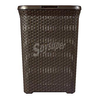 Cesto pongotodo marrón con tapa relieve efecto Rattan Mod. STYLE 1 ud