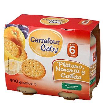 Carrefour Baby Tarrito plátano, naranja y galletas Pack 2x200 g