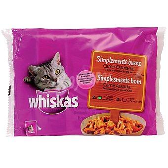 Whiskas Comida para gatos Simplemente Bueno carne estofada en trocitos con salsa para gatos  4 bolsas de 85 g