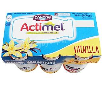 Actimel Danone Yogur Liquido Lactocasei Imunitass con Sabor a Vainilla Pack 6 Unidades de 100 Gramos