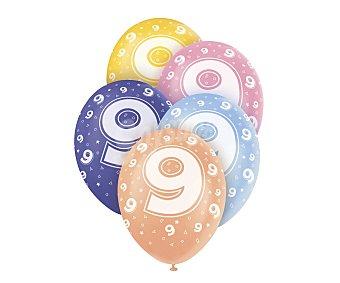 UNIQUE Globos de látex de colores surtidos con número 9 impreso, 12 pulgadas, 30 centímetros 5 unidades