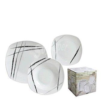 Home Style Conjunto de 18 piezas de Vajilla de Porcelana Decorado Scratch 1 ud