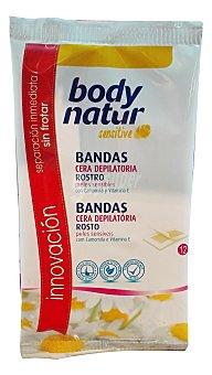 Body Natur Cera depilar fría bandas facial Paquete de 12 unidades