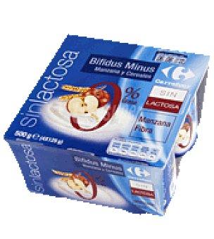 Carrefour Yogur bifidus manzana y cereales 0%, sin lactosa Pack de 4x125 g