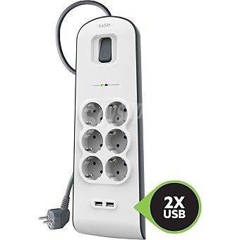 Belkin Regleta de protección contra sobretensiones de 6 tomas con cable de 2 m y dos puertos USB de carga de 2,4 A combinados