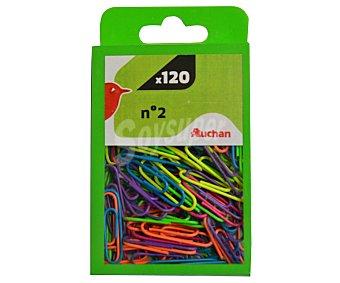 Auchan Clips metálicos, forrados de plástico de colores del número 2 120 unidades