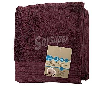 AUCHAN Toalla para baño de algodón egipcio, 630 gramos/m², color morado, 50x100 centímetros 1 Unidad