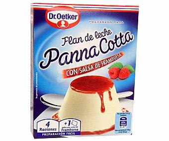 Dr. Oetker Preparado para Flan de leche Panna Cotta con salsa frambuesa 110 g