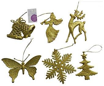 Actuel Colgante de color dorado brillante, con la forma de diferentes motivos navideños (ángel, ciervo, árbol...) actuel. Este producto dispone de distintos modelos o colores. Se venden por separado SE surtirán según existencias