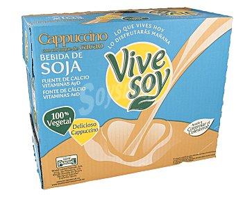 Vivesoy Bebida de soja con sabor a cappuccino con un toque de cacao 8 unidades de 1 litro