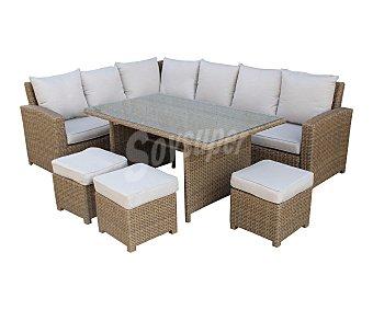 KACTUS REPUBLIC Estocolmo Conjunto de jardín de zinc - ratán de 6 piezas formado por 2 sofás, 3 taburetes y mesa, kactus