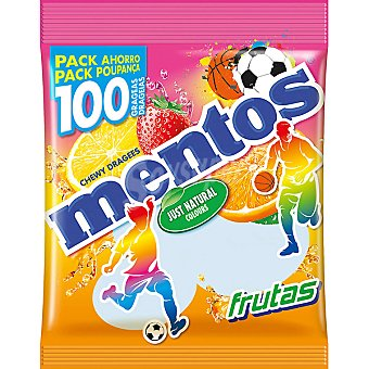 Mentos Caramelos sabor frutas formato ahorro pack 100 unidades envase 295 g Pack 100 unidades
