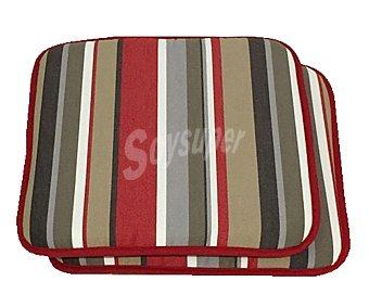 Auchan Cojínes para sillas con forma cuadrado de color marrón, de 40x40x3.5 cm 2 unidades