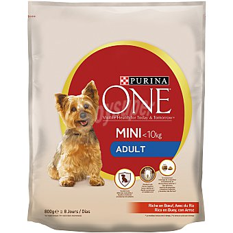 Purina One Pienso para perros adultos minis buey y arroz my dog is Bolsa 800 g