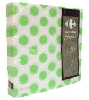 Carrefour Servilletas 33x33 cm 2 capas topos verdes 20 ud