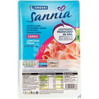 Eroski Sannia Jamón cocido reducido en sal Bandeja 150 g
