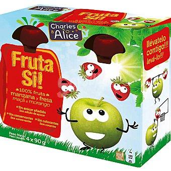 Charles & Alice, Fruta Si! Manzana y fresa 100% fruta lista para beber Pack 4 envases 90 g