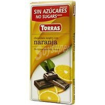 Torras Chocolate negro a la naranja sin azúcar Tableta 90 g