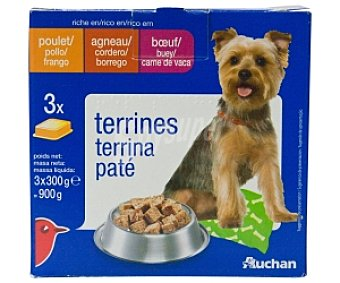 Auchan Comida Húmeda para Perros. Surtido de Patés 3 Tarrinas de 300 Gramos