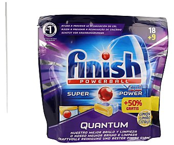 FINISH Quantum Lavavajillas máquina limón Bolsa 18+9 dosis