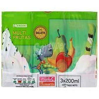 Eroski Bebida de multifrutas galleta Pack 3x200 ml