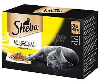 Sheba Comida para gatos adultos a base de pollo, pavo y pato 8 uds. 85 g