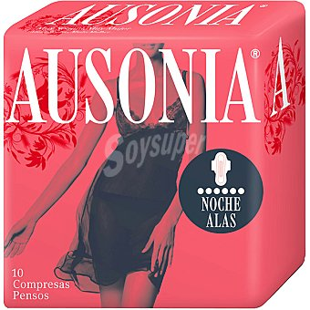 Ausonia Compresa Air Dry Noche súper plus con alas Bolsa 10 unidades