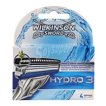 WILKINSON Hydro 3 Cargador de afeitar Pack 4 unid