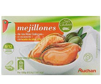 Auchan Mejillones en Escabeche con Aceite de Oliva 8/12 Piezas Lata 68 Gramos