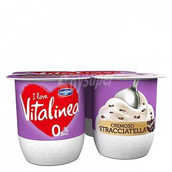 DANONE Vitalínea Yogur desnatado cremoso de stracciatella Pack de 4 unidades de 120 g