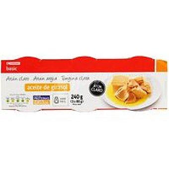 Eroski Basic Atún claro en aceite vegetal Pack 3x80 g