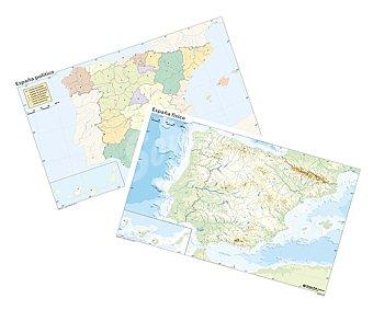 ERIK Pack de 10 mapa mudos, 5 mapas mudos políticos y 5 físicos de 32,4x22,5 centímetros Pack de 10 unidades