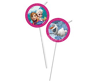 Disney Pajitas flexibles con decoración Frozen Pack de 6 unidades