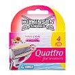 Cargador maquinilla depilatoria para mujer Quattro 4 ud Wilkinson