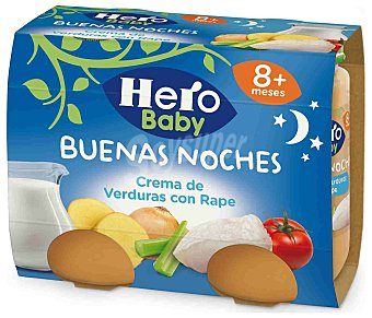 HERO BABY NOCHES Tarritos de crema de verduras con rape desde 8 meses envase 380 g 2x190g