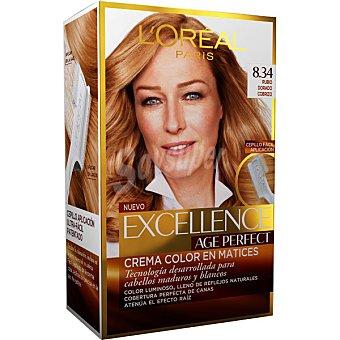EXCELLENCE Age Perfect Tinte rubio dorado cobrizo nº 8.34 crema color en matices caja 1 unidad para cabellos maduros y blancos Caja 1 unidad