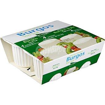 El Corte Inglés Queso fresco blanco de Burgos sin sal Pack 4 tarrinas 62,5 g