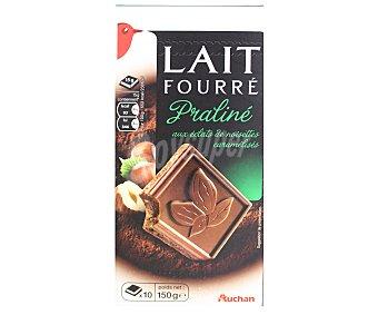 Auchan Chocolate con leche relleno de praliné y trozos de avellanas 150 gramos